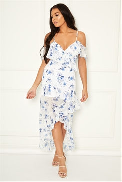 Sistaglam Loves Jessica Wright  Loucilla multi chiffon floral maxi dress with frill details