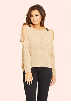 Jessica Wright Harley Stone Buckle Knit Jumper