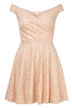 Sistaglam Martina Peach Lace Bardot Prom Dress