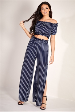 Sistaglam Loves Jessica Wright Ayla navy/multi stripe elasticated high waisted trousers