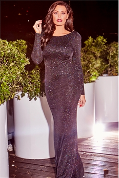 Jessica Wright Black Helen Long Sleeve Glitter Maxi Dress