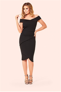 Jessica Wright Valerie Black Bardot Pleated Bodycon Dress