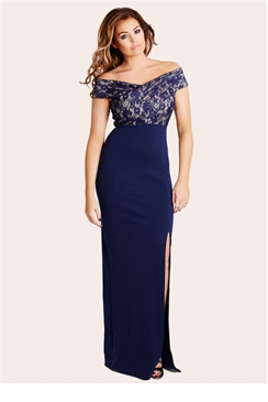 Jessica Wright Tori Navy Lace Bust Off The Shoulder Maxi Dress