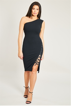 Jessica Wright Jaymie Black One Shoulder  Lace Up  Midi Dress