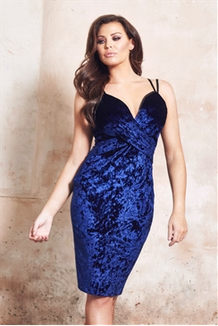 Jessica Wright Andrezza Navy Velvet Wrap Front Cami Strap Dress
