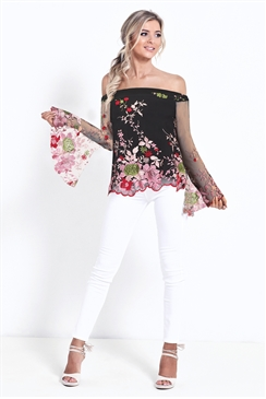 Siataglam Moana Black Floral Sheer Embroided Top With Sleeves