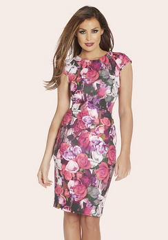 Jessica Wright Poppy Pink Floral Pleated Cap Sleeve Dress