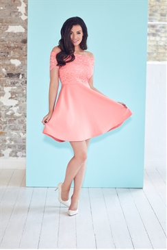 Jessica Wright Josey Coral Lace Bardot Skater Dress