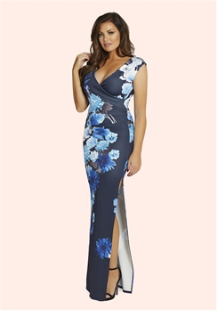 Jessica Wright Natilia Blue Floral Maxi Dress