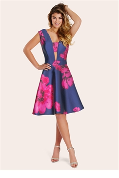 Sistaglam Sadie Floral Plunge Neck Prom Dress