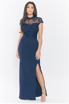 Jessica Wright Amie Lace High Neck Sweetheart Neckline Navy Bodycon Maxi Dress