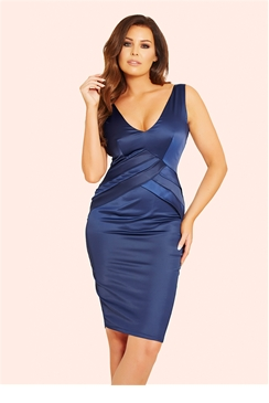 Jessica Wright Estelle Navy Pleated Bodycon Dress