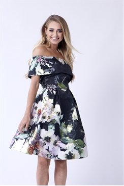Sistaglam Kaya Multicolour Floral Off The Shoulder Skater Dress
