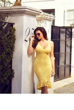 Jessica Wright Coleen Yellow Lace Bodycon Cami Dress