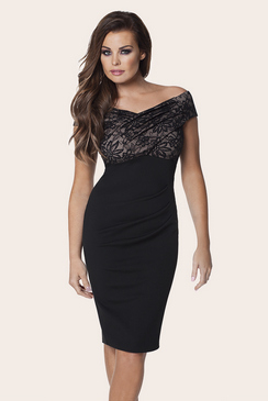 Jessica Wright Carrie Black Lace Midi Dress