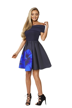 Sistaglam Indigo Floral Sateen Prom Dress