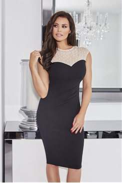 Jessica Wright Allegra Black Bodycon Dress With Beaded Mesh Neckline