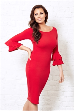 Jessica Wright Izzie Red Ruffle Sleeve Bodycon Dress