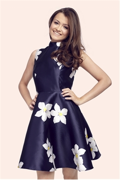 Sistaglam Fleur Floral Sateen High Neck Prom Dress