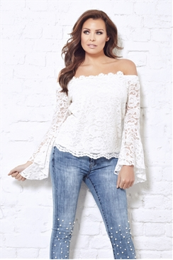 Jessica Wright Dina Cream Lace Off The Shoulder Frill Sleeved Top
