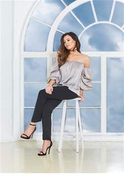 Jessica Wright Tali Grey Bardot Top