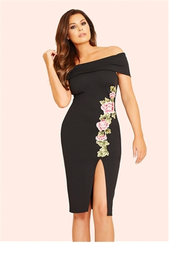 Jessica Wright Rivia Black Bardot Bodycon Dress