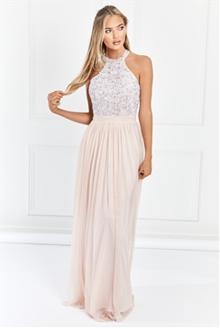 Sistaglam Selena Blush/pink Chiffon And Sequin Maxi Dress