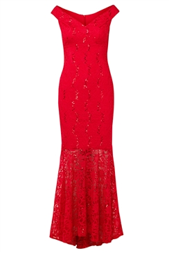 Sistaglam Luliene red sequin lace Bardot maxi dress with fish tail
