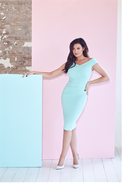 Jessica Wright Vinnie Mint Bardot Bodycon Midi Dress