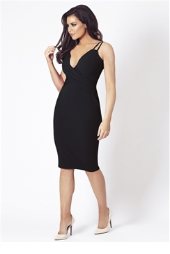 Jessica Wright Flossie Black Low V-Neck Bodycon Dress