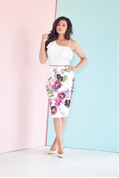 Jessica Wright White Cristal Ruffle Detail Crop Top