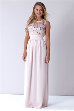 Sistaglam Loretta Nude Embellished Maxi Dress