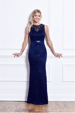 Sistaglam Aston Navy Lace Maxi Dress