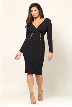 Jessica Wright Raissa Black Button Detail Long Sleeve V-neck Bodycon Dress
