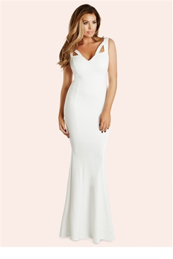 Jessica Wright Ruby White Flared Maxi Dress