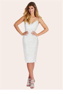 Sistaglam Vanna White Crochet Lace Midi Dress