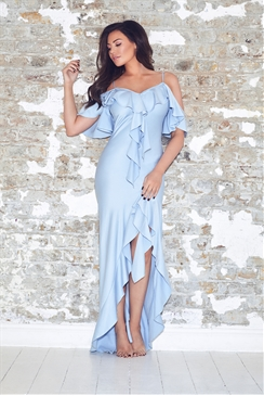 Jessica Wright Poppie Cornflower Blue Frill Maxi Dress