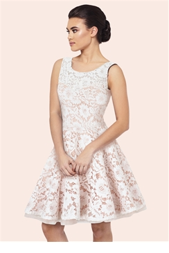 Sistaglam Camilla Cream Embellished Sateen Bridesmaid Dress