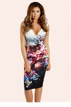 Jessica Wright Liberty Floral Wrap Front Midi Dress