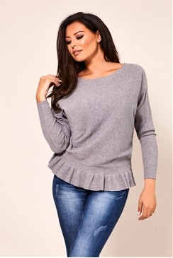 Jessica Wright Barbara Grey Long Sleeve Frill Knitted Jumper