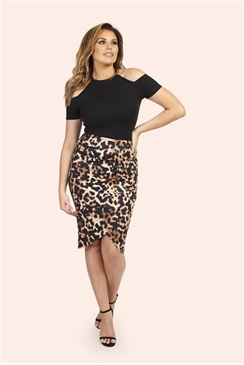 Jessica Wright Cat Leopard Print Wrap Front Pencil Skirt