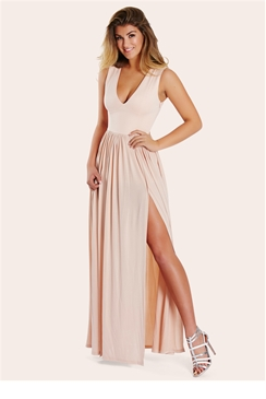 Sistaglam Laney Nude Slinky Plunge Maxi Dress