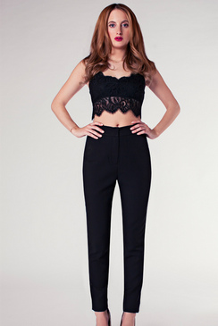 ROSIE FORTESCUE MADRID BLACK SMART TROUSERS