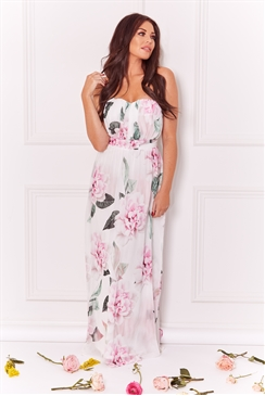 Sistaglam Loves Jessica Wright Julina Multi bandeau rouched chiffon maxi floral print dress