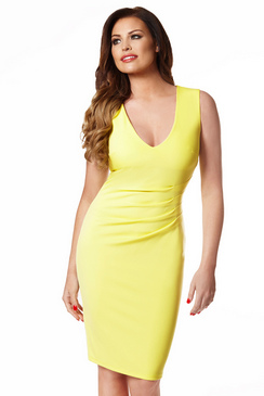 JESSICA WRIGHT ALICE YELLOW BODYCON DRESS