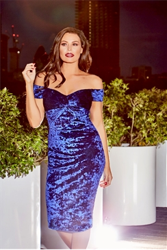 Jessica Wright Roberta Cobalt Velvet Knot Bodycon Dress