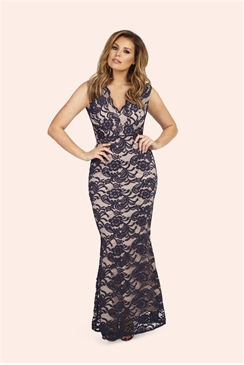 Jessica Wright India Navy Lace Back Keyhole Maxi Dress