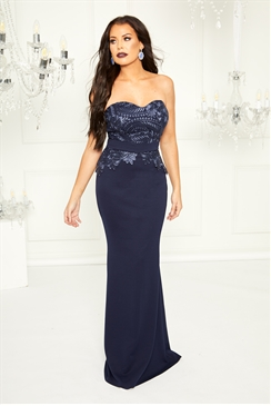 Sistaglam Loves Jessica Wright Bethanie navy bandeau maxi dress with lace panel detail