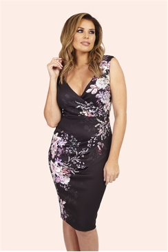 Jessica Wright Kacey Black Floral Print Wrap Dress