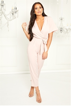 Sistaglam Loves Jessica Wright Leena pink tailored wrap jumpsuit with tie belt